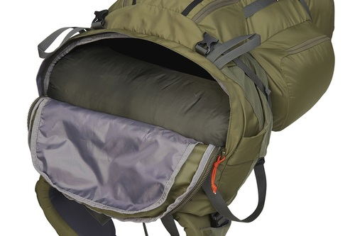 Kelty Coyote 105 backpack, Burnt Olive/Dark Shadow, shown with sleeping bag compartment open