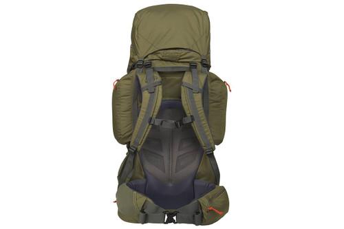 Kelty Coyote 105 backpack, Burnt Olive/Dark Shadow, rear view