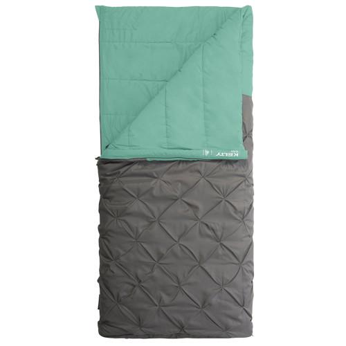 Kelty Kush 30 Sleeping Bag, green/grey, shown partially unzipped