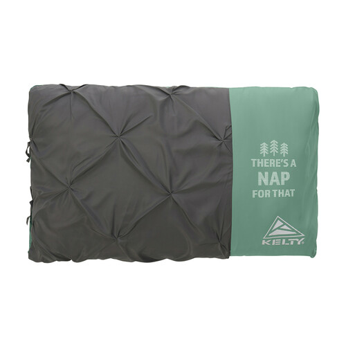Kelty Kush 30 Sleeping Bag, green/grey, shown packed up in pillow -shaped stuff sack