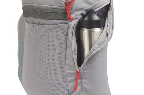 Close up of Kelty Redwing 22 backpack, with side pocket opened