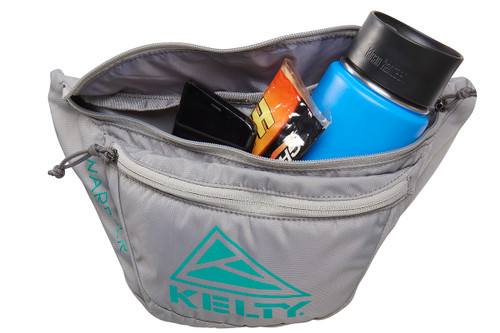Kelty Warbler fanny pack, Smoke/Lagoon, front view, with main compartment opened
