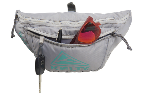 Kelty Warbler fanny pack, Smoke/Lagoon, front view, with front pocket opened