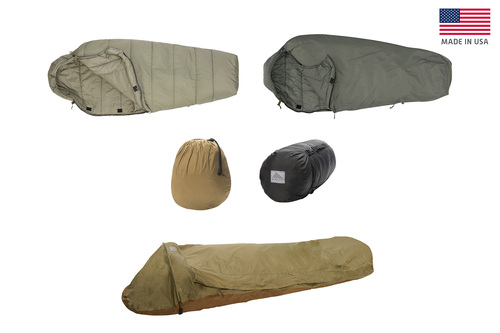 Collage of all components of the VariCom Complete System USA: Delta 30° Sleeping Bag, Gamma 0° Sleeping Bag, VariCom Bivy, Compression Stuff Sack (Small), and Compression Stuff Sack (Large)