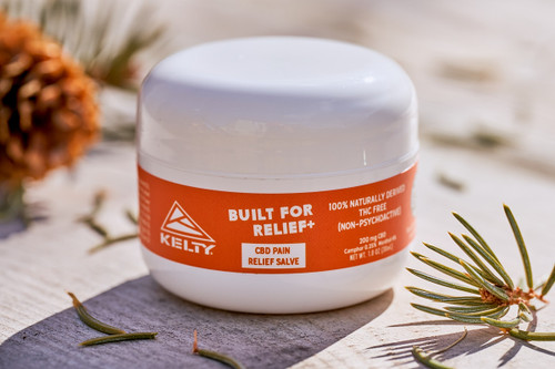 Kelty CBD Pain Relief Salve, 200mg, placed on a table