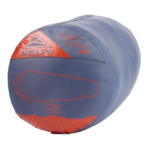 Kelty Cosmic 40 Sleeping Bag, grey, shown stuffed inside sack