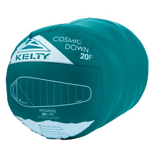 Kelty Women's Cosmic 20 Sleeping Bag, green, shown stuffed inside sack