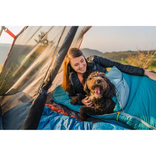 Woman with dog in Women's Cosmic 20 Sleeping Bag