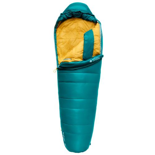 Kelty Women's Cosmic 20 Sleeping Bag, green, shown partially opened