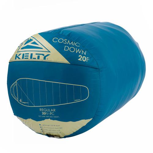 Kelty Cosmic 20 Sleeping Bag, blue, shown stuffed inside sack