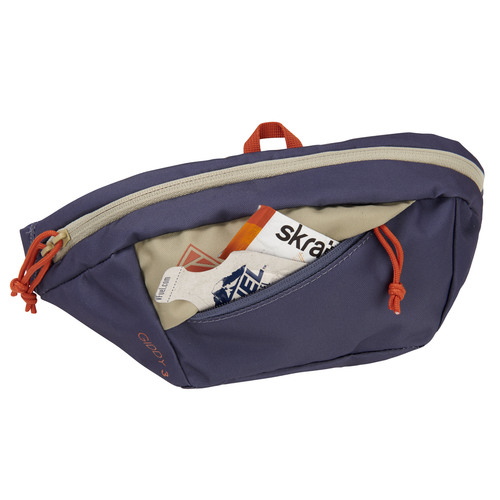 Kelty Giddy 3L waistpack, Grisaille/Elm, front view, unzipped