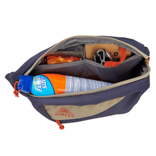 Kelty Giddy 3L waistpack, Grisaille/Elm, top view, unzipped