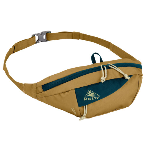 Dull Gold/Reflecting Pond - Kelty Giddy 3L waistpack, front view