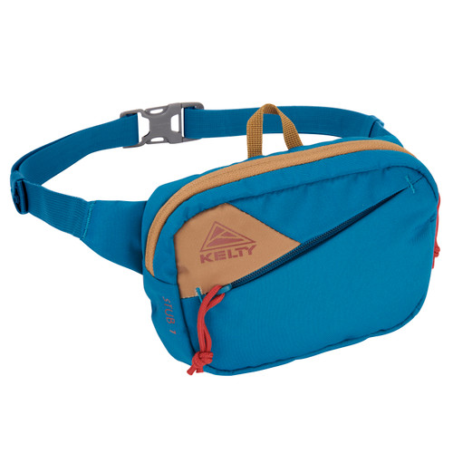 Lyons Blue/Dull Gold - Kelty Stub 1L waist pack, front view