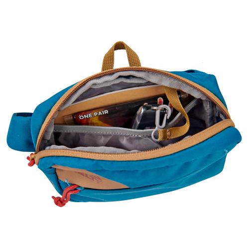 Kelty Stub 1L waist pack, Lyons Blue/Dull Gold, top view, unzipped