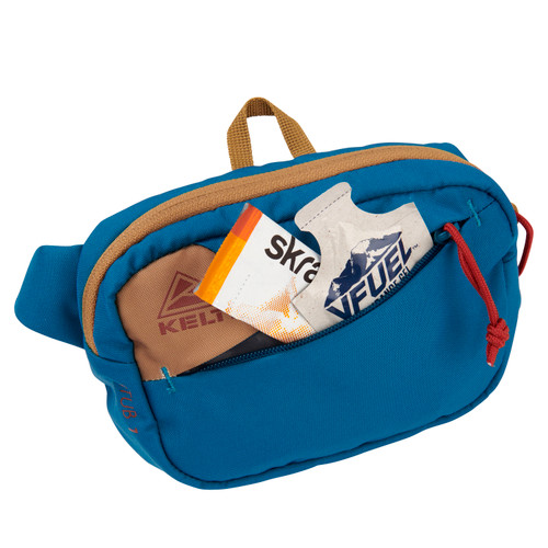 Kelty Stub 1L waist pack, Lyons Blue/Dull Gold, front view, unzipped