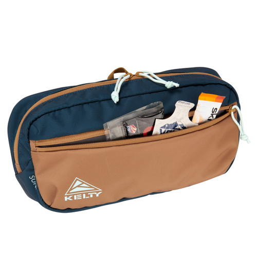 Kelty Sunny 5L waistpack, Reflecting Pond/Dull Gold, front view, unzipped