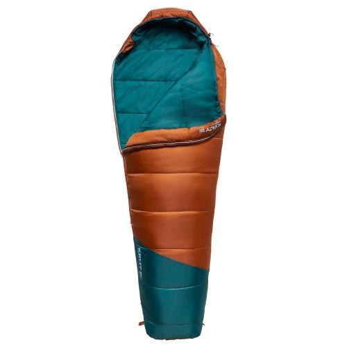 Kelty Mistral Kids 20 Sleeping Bag, Gingerbread/Deep Teal, partially unzipped