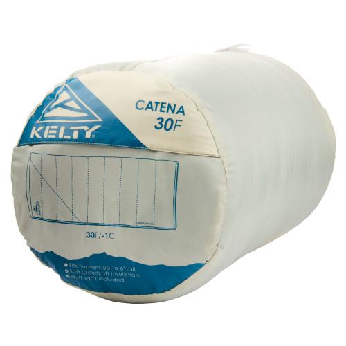 Kelty Catena 30 Sleeping Bag, Elm/Reflecting Pond, packed in stuff sack