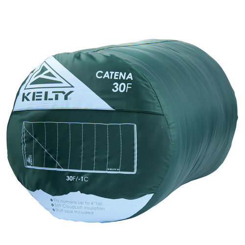 Kelty Catena 30 Sleeping Bag, Posey Green/Grisaille, packed in stuff sack
