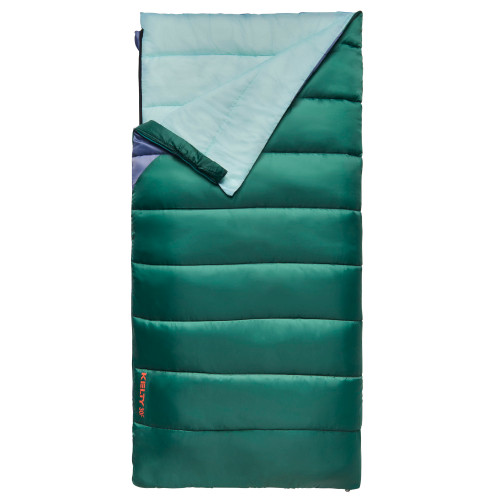 Kelty Catena 30 Sleeping Bag, Posey Green/Grisaille, partially unzipped