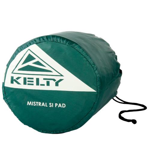 Kelty Mistral Si Mummy Sleeping Pad packed inside green stuff sack