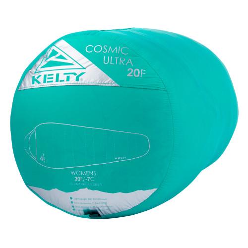 Kelty Women's Cosmic Ultra 20 sleeping bag packed in green stuff sack