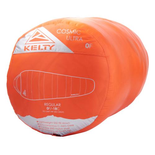 Kelty Cosmic Ultra 0 sleeping bag packed inside red stuff sack