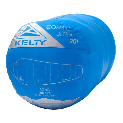 Kelty Cosmic Ultra 20 sleeping bag packed in blue stuff sack