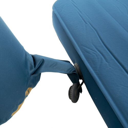 Close up of Kelty Waypoint Si Sleeping Pad, showing inflation bag inserted into valve