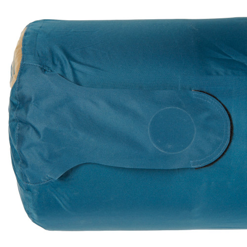 Close up of Kelty Waypoint Si Sleeping Pad inflation bag, showing flap of inflation port closed