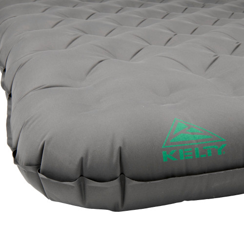 Close up of Kelty Kush Queen Air Bed W/Pump, showing corner of airbed with Kelty logo