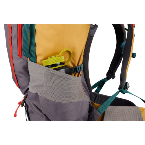 Close up of Kelty Women's Asher 55 backpack, showing water bottle in side pocket