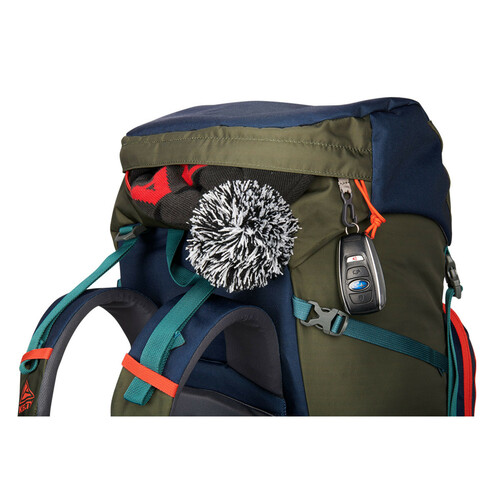 Close up of Kelty Asher 55 Backpack, showing storage pocket in top of lid