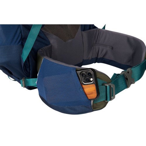 Close up of Kelty Asher 55 Backpack, showing items in waist belt pocket