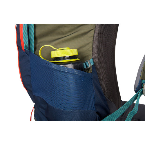 Close up of Kelty Asher 55 Backpack, showing water bottle in side storage pocket