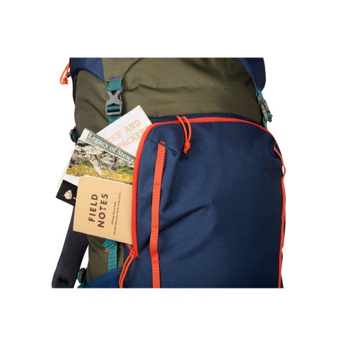 Close up of Kelty Asher 55 Backpack, showing items in front storage pocket