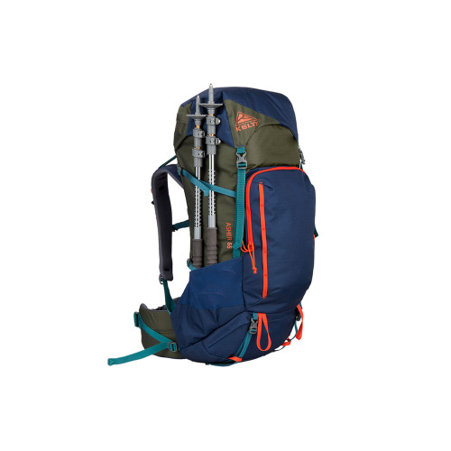 Kelty Asher 55 Backpack, Midnight Navy/Burnt Olive, front view, with trekking poles