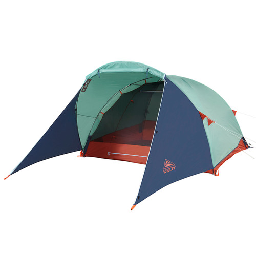 Kelty Rumpus 4 tent, front view, with fly attached, door opened