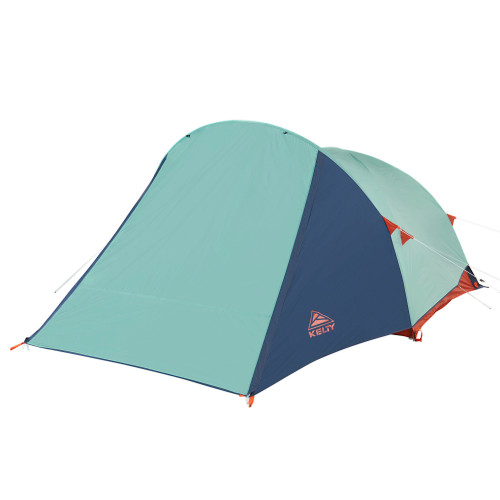 Kelty Rumpus 4 tent, front view, with fly attached, door closed