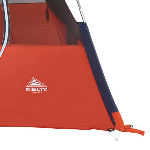 Close up of Kelty Rumpus 4 tent, showing bottom corner of tent