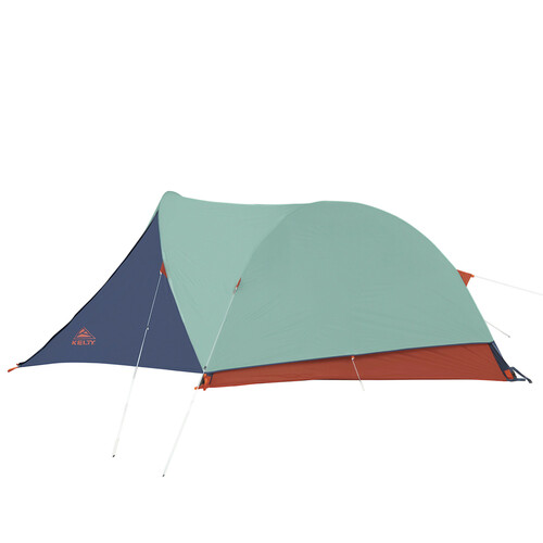 Kelty Rumpus 4 tent, front view, with fly attached, side view
