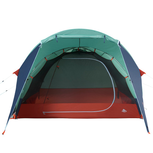 Kelty Rumpus 4 tent, front view, with fly attached, door opened, front view