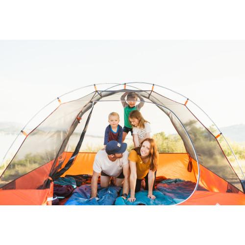 Happy family inside Kelty Rumpus 4 tent