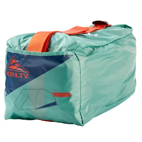 Close up of Kelty Rumpus 4 tent, showing rectangular storage bag