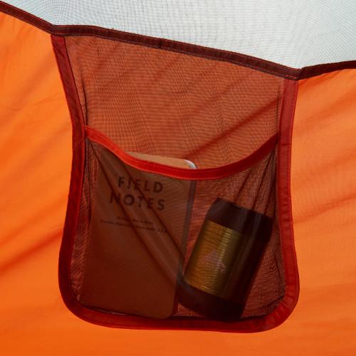 Close up of Kelty Rumpus 4 tent, showing interior hanging mesh pocket