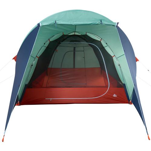 Kelty Rumpus 6 tent, with fly attached, door open, front view