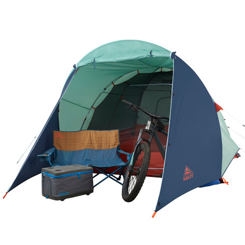 Kelty Rumpus 6 tent, with fly attached, door open, front view, with gear in vestibule