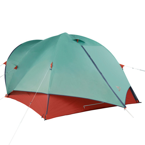 Kelty Rumpus 6 tent, with fly attached, door closed, front view