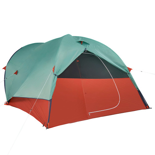 Kelty Rumpus 6 tent, with fly attached, door rolled up, front view